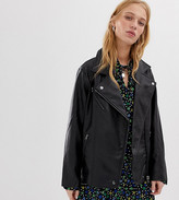 Collusion COLLUSION oversized leather look biker jacket