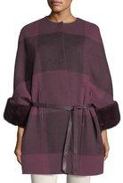 Loro Piana Upper East Belted Cashmere Jacket w/ Fur Trim