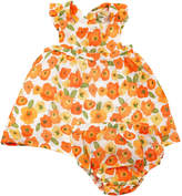 Angel Dear Poppies Print Pinafore Muslin Dress w/ Matching Bloomers, Size 3-24 Months