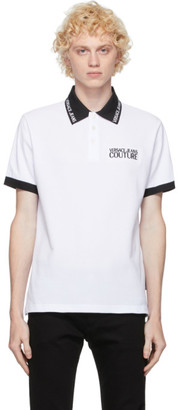 Versace Jeans Couture White and Black Logo Polo
