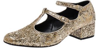 Saint Laurent Paris Gold Glitter Mary Jane Block Heel Pumps Size 39.5
