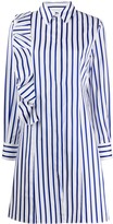 MSGM asymmetric striped ruffle shirtdress