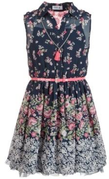 Beautees Big Girls Paisley & Floral-Border Shirtwaist Dress
