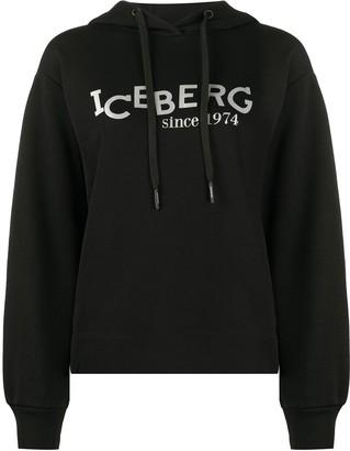 Iceberg Logo Print Drawstring Hoodie