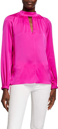 Milly Emmie Mock-Neck Long-Sleeve Stretch Silk Keyhole Top