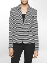 Calvin Klein Womens Lightweight Striped Suit Jacket