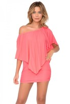 Luli Fama Cosita Buena Cover Ups Party Dress in Fire Coral (L177981)