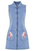 Quiz Blue Denim Embroidered Tunic Dress