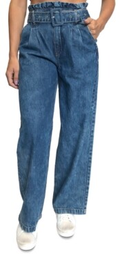 Almost Famous Juniors' Paperbag-Waist Cotton Wide Leg Jeans