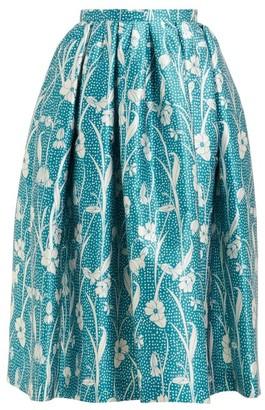 Rochas Floral-print Duchess-satin Pleated Skirt - Womens - Blue Multi