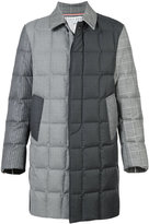 Thom Browne Downfilled Classic Bal Collar Overcoat In Funmix In Prince Of Whales Heavy Wool