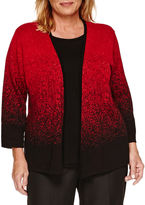 Alfred Dunner 3/4 Sleeve Layered Sweaters-Plus