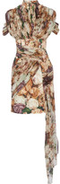 Christopher Kane Draped Floral-print Crepe And Silk-georgette Mini Dress - Beige