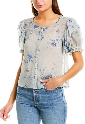 LoveShackFancy Elbow-Sleeve Silk Top