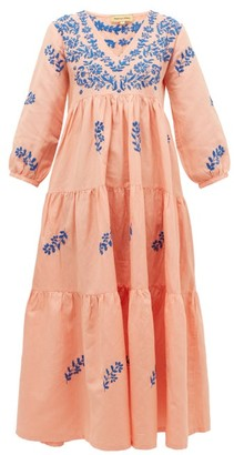 Muzungu Sisters - Frangipani Floral-embroidered Tiered Dress - Pink Multi