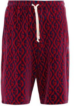 Gucci Rhombus-jacquard Mid-rise Chenille Shorts - Blue Multi