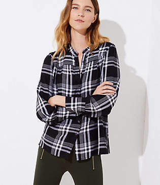 LOFT Plaid Puff Shoulder Blouse