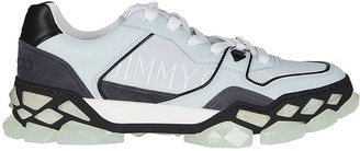 Jimmy Choo Pastel Blue Leather And Suede Diamond Sneakers