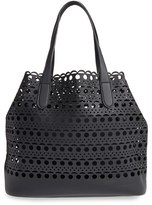 Street Level Perforated Faux Leather Tote With Pouch - Black