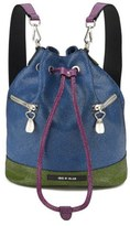 House of Holland Bucket Leather Bag Pink/Blue