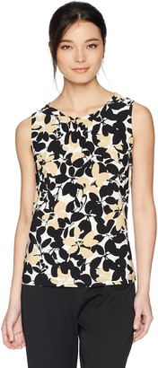Kasper Women's Petite Sleeveless Two Tone Floral Print Keyhole Ity Top