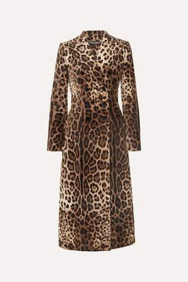 Dolce & Gabbana Leopard-print Double-breasted Cotton-blend Velvet Coat - Brown