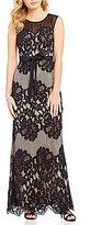 Sangria Illusion Lace Sleeveless Round Neck Gown