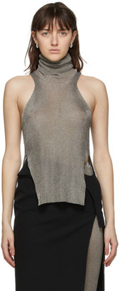 Thierry Mugler Bronze Mouline Turtleneck Tank Top