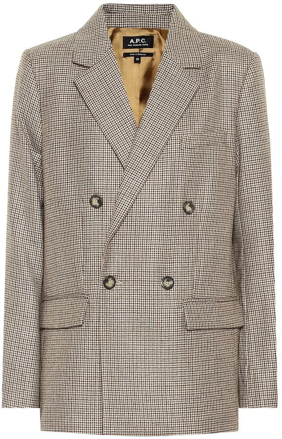 A.P.C. Prune checked wool blazer