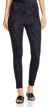Lysse Kent Printed Faux-Leather Trim Leggings
