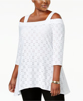 NY Collection Plus Size Eyelet Cold-Shoulder Top