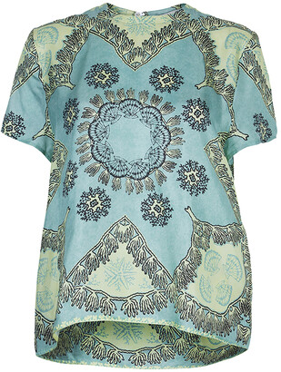 Valentino Mint Green Printed Short Sleeve Silk Top M