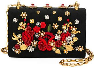 Dolce & Gabbana Roses Brocade and Leather Shoulder Bag