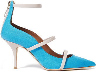 Malone Souliers Robyn Leather-trimmed Two-tone Linen Pumps