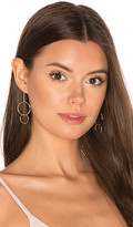 joolz by Martha Calvo Double Drop Hoop Earrings in Metallic Gold.