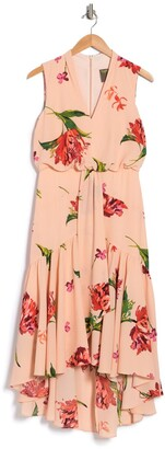 Taylor Printed V-Neck Hi-Lo Tiered Dress