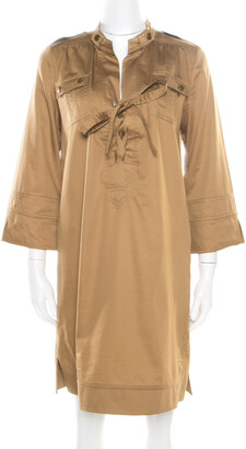 Diane von Furstenberg Camel Brown Cotton Neck Tie Detail Damani Dress M