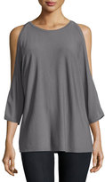 Milly Open-Shoulder Round-Neck Pullover, Gray