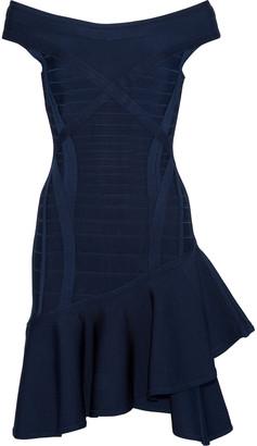 Herve Leger Nicole Off-the-shoulder Ruffled Bandage Mini Dress