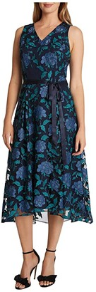 Tahari ASL Embroidered High-Low Hem Midi Dress (Navy Teal Peony) Women's Dress