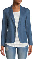 Majestic Stretch Linen Open-Front Blazer, Blue