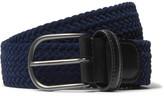 Andersons Anderson's - 3.5cm Leather-trimmed Woven Velvet Belt - Navy