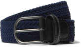 Andersons Anderson's - 3.5cm Leather-Trimmed Woven Velvet Belt
