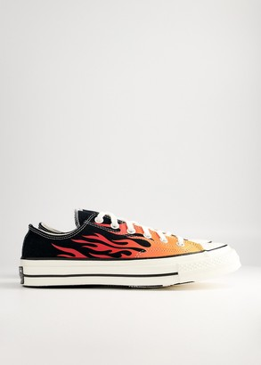 Converse Chuck 70 Archive Flame Printed Low Shoes in Black/Enamel Red, Size M 4/W 6