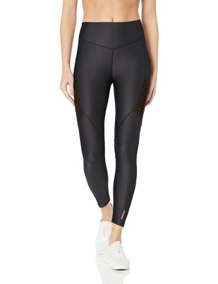 AVEC LES FILLES Women's Metallic Jersey 7/8 Legging with Powermesh Inserts