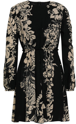 Valentino Pleated Floral-print Wool-crepe Mini Dress