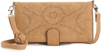 Violet Ray Studded Wallet On A String with Crossbody Strap