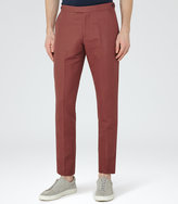 Reiss Reiss Bank - Cotton And Linen Trousers In Brown