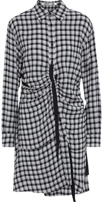 McQ Ruched Gingham Flannel Shirt Dress