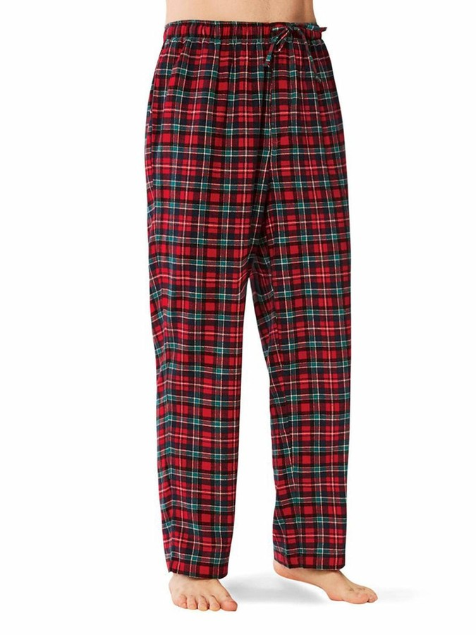 2 Pack Mens Checkered Lounge Pants Trousers Pyjamas Bottoms Pure Cotton